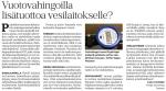 Forssan Lehti 21.8.2016 Vuotovahingoilla lisätuottoa vesilaitokselle.