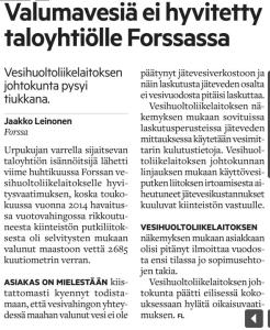 Forssan Lehti 18.8.2016 - Valumavesiä ei hyvitetty taloyhtiölle