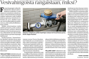 Forssan Lehti 28.8.2016 - Mielipide: Vesivahingoista rangaistaan, miksi?